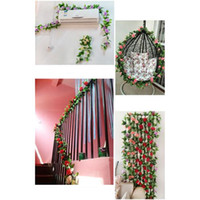 2PC Artificial Silk Falso Rose Flor Ivy Vine Hanging Decoração do casamento Home Decor Partido Garland