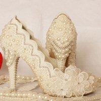 ingrosso scarpe da sposa formato 43-Lussuoso Avorio Formale Dress Shoes Bella Lace Flower nuziale Wedding Party Shoes Platforms Plus Size 34-43 Prom Party Pumps