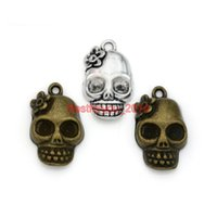 Wholesale Craft Charms Skulls - Tibetan Silver Plated Skull Charms Pendants for Jewelry Making Bracelet Necklace DIY Accessories Handmade Craft 22x13mm