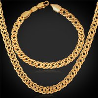 U7 Gold Necklace Set Men Jewelry 18K Stamp 18K Real Gold / Platinum / Rose Gold Plaated Necklace Bracelet Set de bijoux fêtards