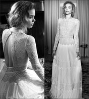 Wholesale Appliques Neck Designs - Classical Lace Backless Custom Made A Line Long Wedding Dresses Popular Lihi Hod New Design 1920s Bridal Gowns Elegant Sweep Train