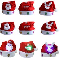 Wholesale mini santa hats - Led Kids Christmas Hat Xmas Adult Mini Red Santa Claus Deer Party Decor Christmas Caps Christmas Decorations Tableware Holder HH7-227