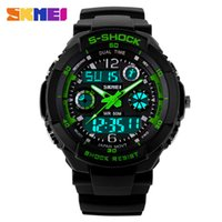 Wholesale Skmei Watches - SKMEI SK9031 men's GMT dual display watch, analog digital relogio waterproof swim wristwatch, led military watch, gift watch for men