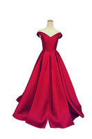 Wholesale Beautiful Long Wedding Dresses - Beautiful Satin Off Shoulder Wedding Dresses Simple Garden 2018 Spring Formal Train Plus Size vestido de noiva Bridal Gown Ball For Bride