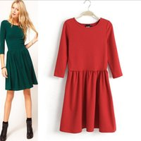 Wholesale Cute Casual Dresses For Winter - Wholesale-New 2016 autumn and winter Europe women dress warm Pleated solid cute dress for women free shipping