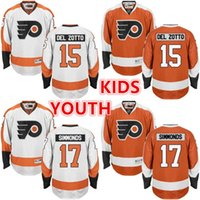 Wholesale Del Boy - 2016 YOUTH Philadelphia Flyers Jerseys 15 Del Zotto 17 Wayne Simmonds jersey white orange Ice Hockey Jersey Embroidery Stitched S-XL