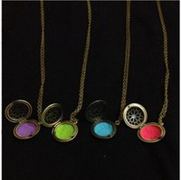 Wholesale Wholesale Bronze Filigree - (12pc)Wholesale Antique bronze Essential Oil Diffuser Filigree Locket Necklace with Colorful Diffuser pads,Aromatherapy Necklace