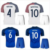 Migliore qualità 2016 Euro France Home blu soccer Jersey 2016 2017 GRIEZMANN POGBA MARTIAL Giroud Away maglie bianche