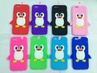 Wholesale Cute Penguin Cartoons - 3D Penguin Rokery cute soft silicone gel rubber Case For Iphone 8 7 6 6S 4.7  6S Plus 5.5 SE 5 5S 5C inch lovely animal cartoon skin cover
