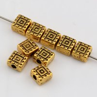 Wholesale Square Gold Tone Beads - Hot Sale ! 100pcs Antiqued Gold Tone Square Spacer Beads 6mm DIY Jewelry