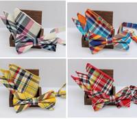Wholesale Bowtie Hanky Set - Check bowknot set Classic cotton Jacquard Woven Men Butterfly Self Bow Tie BowTie Pocket Square Handkerchief Suit Set