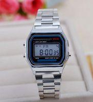 Wholesale Square Luminous Watch - Fashion metal watchband LED electronic table watch Gold silver digital luminous watches
