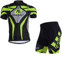 Wholesale Nuckily Cycling - NUCKILY Men summer short Sleeve Bicycle Wear Clothing 3D Padded Pants Men's Thermal Fleece Cycling Jersey sets Green with Black