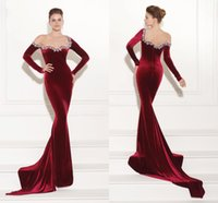 Wholesale Sexy Red Wine - Tarik Ediz Prom Dresses Newest Wine Red Velvet Mermaid Beaded Zipper Back Fashion Prom Party Gown Formal Evening Dresses