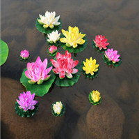 ingrosso fiore di loto galleggiante bianco artificiale-Diametro di 10 cm Simulazione Artificiale Fiore di loto Fiori d'acqua galleggianti per la casa Decorazione di nozze Forniture Loto rosa rosso bianco arancione
