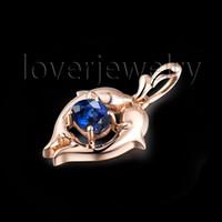 Wholesale 18kt Necklace - Wholesale-Solid 18Kt Rose Gold Pisces Sapphire Pendant,Bule Sapphire Prisces Pendant 750 Rose Gold For Sale WP086G