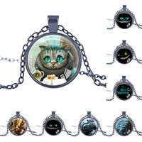 Wholesale Diamond Necklace Photos - 2016 Cheshire Cat Necklaces, We're All Mad Here, Alice in Wonderland Necklace Glass Photo Cabochon Necklace