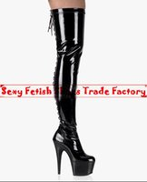 Wholesale Platform Heels 5cm - Thigh high boot Extreme high heel 15cm heel 5cm Platform shiny pu patent leather lace up over the knee sexy fetish stiletto heel long boots