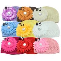 Wholesale Big Flower Hats - Mix colors cotton knitting Kids hat big flower handmade 10pcs lot Children baby Accessories ba140