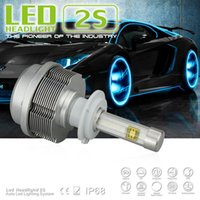 Wholesale Pair License Plate - 1 Set H7 60W Pair 6400lm CREE ETI LED Headlight Single Beam 2S All in One Xenon White 6000K 30W Bulb 3200lm H1 H3 H8 H9 H11 9005 6 D2 D4 NEW
