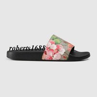 Wholesale Womens Heels Nude - 2017 new arrival mens and womens fashion blooms slides slippers with floral-print leather outdoor indoor causal flip flops