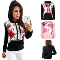 Wholesale Sweater Hoodies For Women - Flower Pattern Long Sleeve Pullover Hooded Sweater Hoodies For Women Casual Floral Sports Sweatshirt Tops RF0641