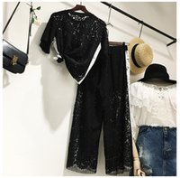 Wholesale Korea Style Short Pants - women two pieces suit korea style lace embrodiary top and wide leg lace patchwork pant fashion women summer autumn 2 pieces set