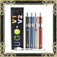 Wholesale New T2 - New E Cigarette Kits UGO-V2 T2 Vaporizer Kit 1300mAh Vape Pen Battery 1-15W VW 4 Colors