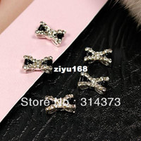 Wholesale Nail Decoration Tie Bow - 100pcs lot 6x10mm Black Bow Tie Butterfly Bling 3D Alloy Rhinestones Acrylic Nail Art UV Gel Tips Phone Design Decorations