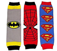 Wholesale Super Arms - hot sale Baby super hero series Leg Warmer 12Pair lot kids superman batman spiderman Tights Legging for masquerade party adult arm warmer
