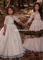 Wholesale First Zipper Made - 2018 New Full Lace Princess A Line Flower Girls Dresses Half Sleeve Zipper Back Waist With Sashes Kids Pageant Gown First Communion Dresses