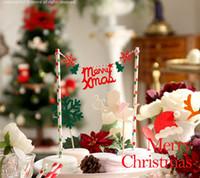 banderas de señales al por mayor-Venta al por mayor- día de Navidad tarjeta inserta insertada insertar signo de decoración de fiesta Complementos de muñeco de nieve insertado tarjeta de venados tortas banderas