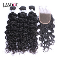 Wholesale water weave hair closure resale online - Peruvian Malaysian Indian Brazilian Virgin Hair Bundles with Lace Closure Natural Wave Wet and Wavy Water Wave Curly Mink Human Hair Weave