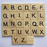 bloques de alfabetos al por mayor-Alfabeto de madera Scrabble Azulejos Niños Inteligencia Desarrollo Multi Función Bebé Literacy Puzzle Bloque de Alta Calidad 7xp C R