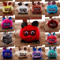 Wholesale Owl Accessories For Girls - High Quality Keychain 14 Styles Rabbit Ears Fur ball Glasses Owl Key Chains Rings Holder For Women Hang Bag Accessories D200Q
