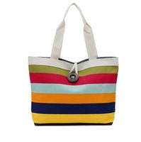 mode farbige handtaschen großhandel-Mode Frauen Leinwand Handtaschen Berühmte Marken Farbige streifen Frauen Tote Umhängetasche Damen Pochette Sac Femme Casual Einkaufstaschen