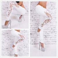 Wholesale White High Waist Jeans - Fashion Women Jeans Pants Ladies Lace Floral Splice High Waist Jeans Hollow Out Casual Women lace jeans sky blue plus size S M L XL XXL XXXL