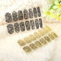 Wholesale Sticker Golden Nail - DIY Nail Art Stickers Patch Wraps Fingers Black Golden One Sheet Mix Style Nail Tips Decoration makeup Styling tools