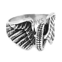 Wholesale Stainless Steel Winged Ring - Free shipping! Eagle Wings Motorcycles Tire Biker Ring Stainless Steel Jewelry New Design Fashion Motor Biker Men Ring SWR0313B