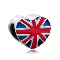 Wholesale china flags resale online - China Metal Jewelry Heart Patriotic British Flag Beads Enamel Fashion Charms Fits for European Bracelets