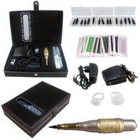 Wholesale Starter Kits Tattoos - whole sale Eyebrow Kit Permanent Makeup Tattoo Supply Machine gun Power Needle Tips EK703-4 free shipping
