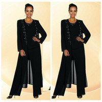Wholesale Long Red Elegent Dress - 2016 Elegent Chiffon Mother Of The Bride Pant Suits Beaded Collar Long Sleeve Crew Black Women Dress Evening Dresses