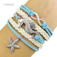 Wholesale Suede Bracelets - Infinity Love Seahorse Charm Bracelets Sea Horse Starfish Pendant Bracelets Wrap Leather Aqua Blue Suede Unisex Women Fashion Gift Custom