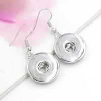 Wholesale Earrings White Metal - Free Shipping Wholesale Noosa 18mm Metal Interchangea Jewelry Earrings 18mm Snap Earrings Trend DIY Jewelry Interchangeable Earrings