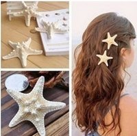 3 '' 2 '' Enormi graziosi Clips naturale Starfish capelli tornante Beige Beach Capelli Accessori Starfish Sea Star capelli clip monili anatra Clips DHL libero