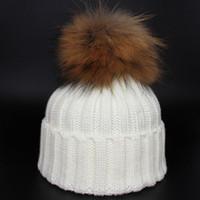 Wholesale Knit Hats Wholesale China - Cheap China Wholesale New Fashion Lady Skullies Beanies Knit Winter Hat Cap Women With Real RACCOON Balls Free Shipping