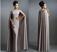 Wholesale Elie Saab Dress Bride - Luxury Muslim Gray Mother Of The Bride Dresses 2016 Sexy Jewel Neck Lace Pleats Modern Elie Saab Party Celebrity Gowns BO9287