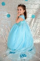 Wholesale Clothing For Kid Girls - New Christmas Frozen Dress Princess Elsa Party Dresses Blue Ball Gown for Girls with Long Gauze Sweety Kids Clothing