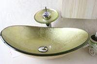 vidro temperado amarelo venda por atacado-Dissipador da embarcação de vidro temperado ouro amarelo com Chrome Waterfull torneira Set N-675