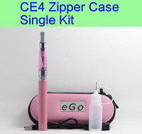 Wholesale Ce4 Free Shipping - CE4 eGo Starter Kit Electronic Cigarette Zipper Case Single Kit E-Cigarette 650mah 900mah 1100mah DHL free shipping